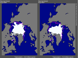Arctic sea ice 2008-08 and 2007-08 