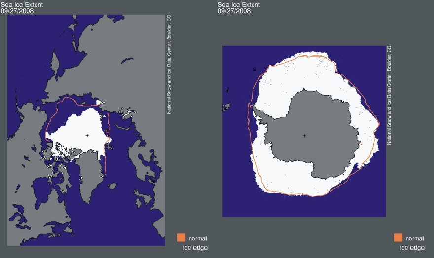 Recent northern and southern hemisphere sea ice
