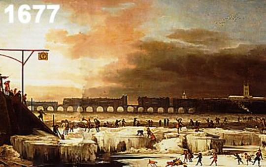 The frozen Thames, A. Hondius 1677 London Museum 